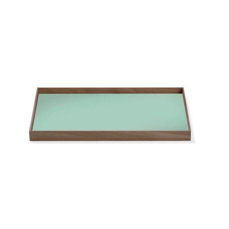 MUNK Collective - FRAME Tray Medium - Walnoot dienblad met groen blad