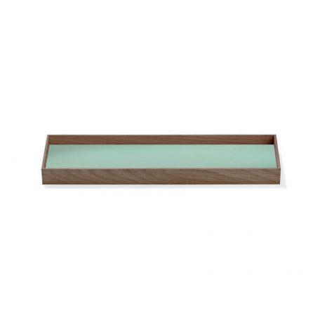 MUNK Collective - FRAME Tray Small - Walnoot dienblad met groen blad