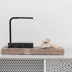 MUNK Collective - PIPE Lamp - Bureaulamp met graniet voet - Zwart_Zwart Chroom