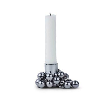 Gejst MOLEKYL - kandelaar, kaarsenstandaard van metaal - CHROOM