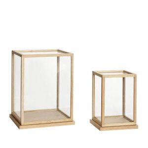 Hubsch Interior - Eiken set vitrinekastjesdisplaykastjes - 889027