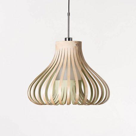 LION DESIGN - MORA Hanglamp Berkenhout - GROEN 50x38cm