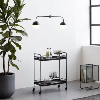 Hubsch Interior - Zwart metalen trolley, theewagen (020705)