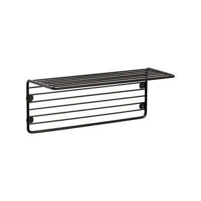 Hubsch Interior - Mat zwart wandplankje van draadstaal - 940611)