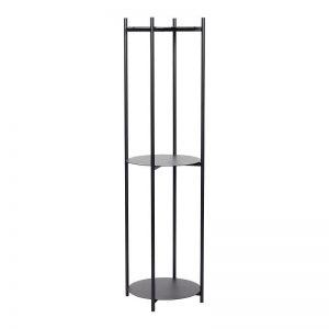 HUBSCH INTERIOR - Zwart metalen plantenrek met drie planken - 020703