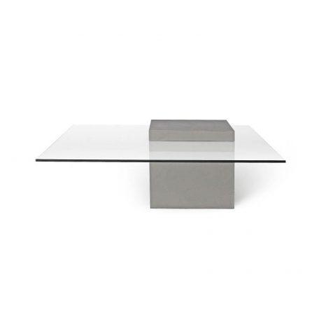 Vierkante Salontafel Met Glasplaat.Lyon Beton Verveine Vierkante Salontafel Van Glas En Beton