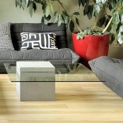 Lyon Béton VERVEINE - Vierkante salontafel van glas en beton (D-09041)