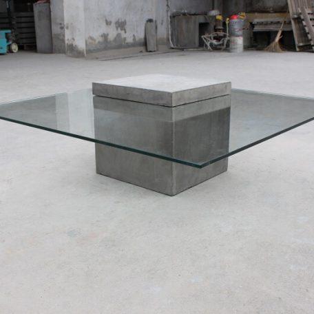 Vierkante Salontafel Met Glas.Lyon Beton Verveine Vierkante Salontafel Van Glas En Beton