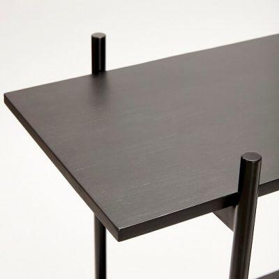 HUBSCH INTERIOR – Opbergrek van zwart metaal met twee schappen – 120x40xh90cm