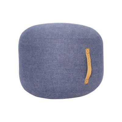 HUBSCH INTERIOR - Poef jeansblauw van wol met visgraat motief - 700802