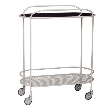 Hubsch Interior - Grijs metalen trolley, roltafel met zwenkwielen (020904)