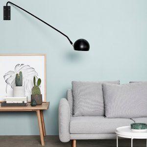 Hubsch Interior - Zwarte wandlamp van metaal met messing , verstelbaar - 370412