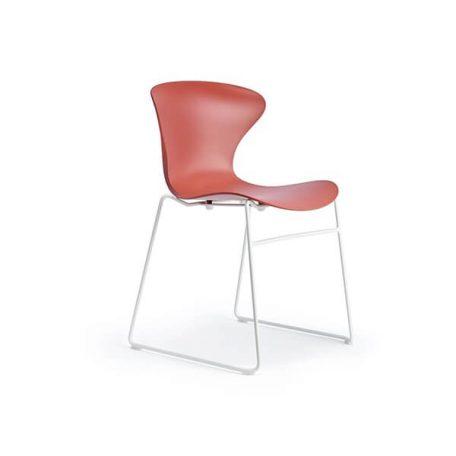 COOL Collection - FPC Vlinderstoel Sledeframe Wit - Zitschaal Marsala (ML)