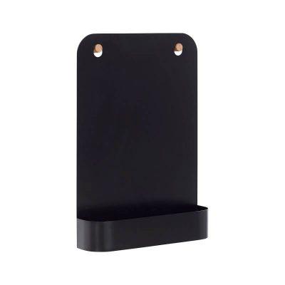 HUBSCH INTERIOR - Zwart tijdschriftenrek van metaal met eiken haakjes - 940604