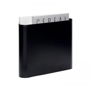 HUBSCH INTERIOR - Zwart tijdschriftenrek van metaal met houten haakjes - 940602
