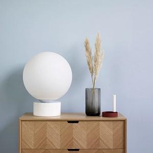 Hubsch Interior - Bol vloerlamp van melkglas, wit marmeren voet