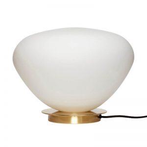 Hubsch Interior - Tafellamp van melkglas met messing voet - 39xh28cm - 990910