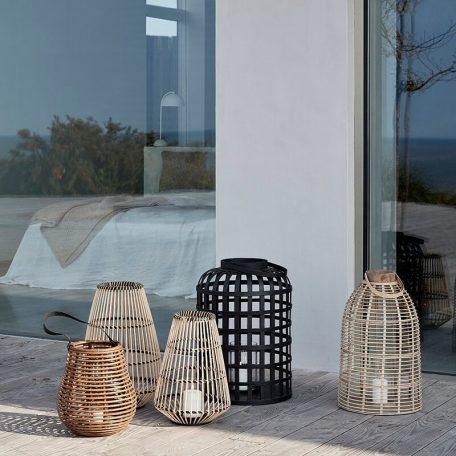 Hubsch Interior - Zwarte windlichten set van bamboe - 030605