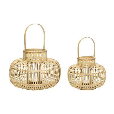 Hubsch Interior - Set bamboe windlichten, lantaarns - 030804