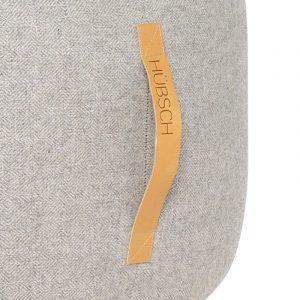 HUBSCH INTERIOR - Poef lichtgrijs van wol met visgraat motief - 700806