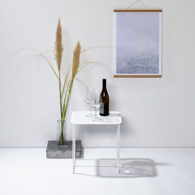 WELD & CO - GRID 02 Side Table - Rechthoekige wit metalen bijzettafel