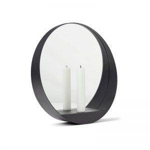 Gejst GLIM Round - Mat zwart metalen spiegel met kaarsenhouder