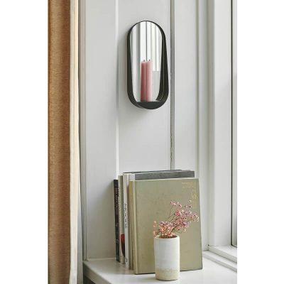 Gejst GLIM Slim - Mat zwart metalen spiegel met kaarsenhouder