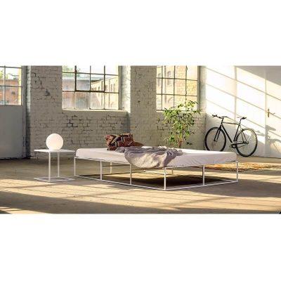 MAZANLI - BED ION - Minimalistisch tweepersoons bed van wit staal