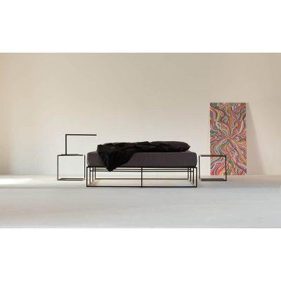 MAZANLI - BED ION - Minimalistisch tweepersoons bed van zwart staal