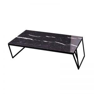 MAZANLI - DEA - Minimalistische salontafel van staal en marmer