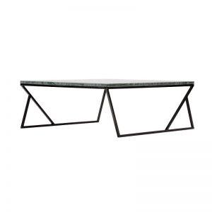 MAZANLI - DUA - Minimalistische salontafel van staal en marmer