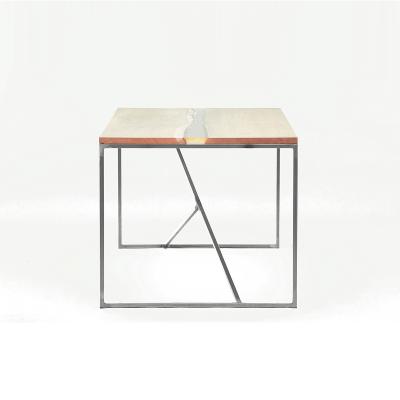 MAZANLI - OIA HIGH - Minimalistische tafel van onbehandeld staal, blad van eiken en epoxy