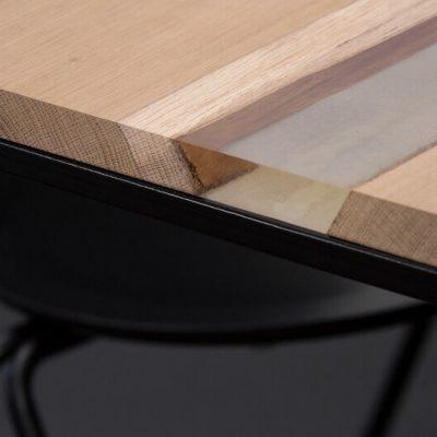 MAZANLI - OIA HIGH - Minimalistische tafel van wit staal, blad van eiken en epoxy