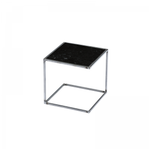 MAZANLI - SIDE TABLE NOA - Minimalistische bijzettafel van onbehandeld staal - Nero Marquina