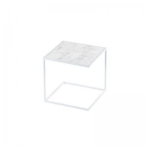 MAZANLI - SIDE TABLE NOA - Minimalistische bijzettafel van wit staal - Arabescato