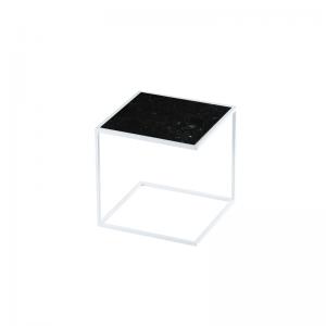 MAZANLI - SIDE TABLE NOA - Minimalistische bijzettafel van wit staal - Nero Marquina