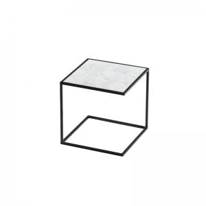 MAZANLI - SIDE TABLE NOA - Minimalistische bijzettafel van zwart staal - Arabescato