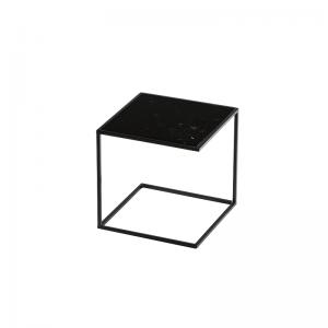 MAZANLI - SIDE TABLE NOA - Minimalistische bijzettafel van zwart staal - Nero Marquina