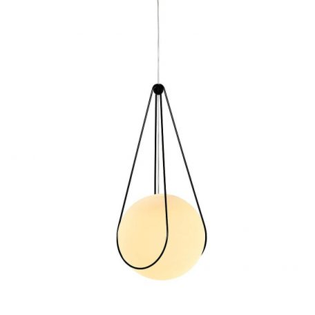 Design House Stockholm - KOSMOS bollamp Large Wit Melkglas - Zwart
