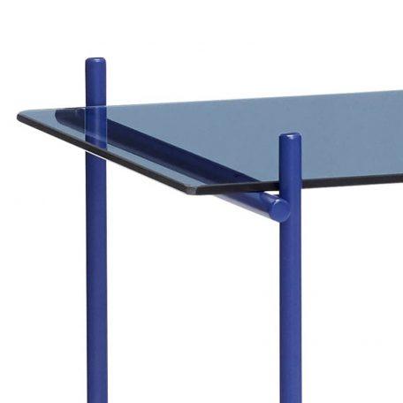 Hubsch Interior - Blauwe bijzettafel van metaal met blauw glas - 021112