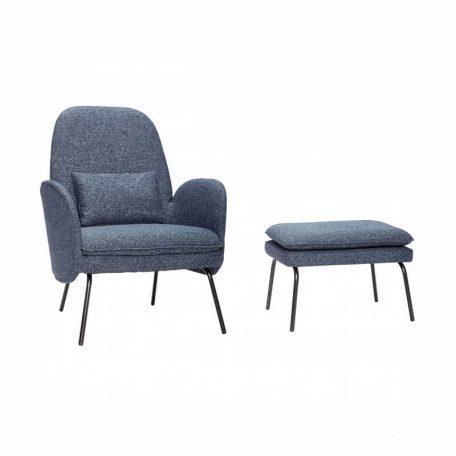 Hubsch Interior - Donkerblauwe armstoel met voetenbank - 100903