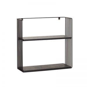 Hubsch Interior - Zwart metalen wandrek met twee schappen - 021113