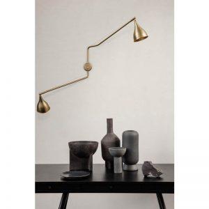 NORR11 - LE SIX Twee-armige Industriële wandlamp - Messing