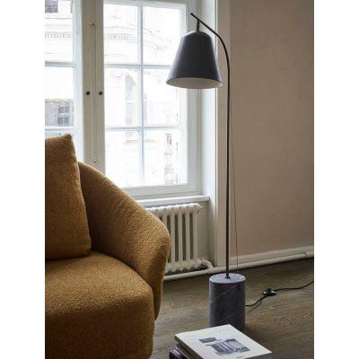 NORR11 - LINE ONE vloerlamp met ronde kap en marmeren voet - mat zwart