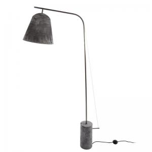 NORR11 - LINE TWO Grijs geoxideeerde vloerlamp met messing en marmer