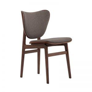 NORR11 - ELEPHANT Dining Chair - Donker Eiken eetkamerstoel met wol bekleed - Bruingrijs