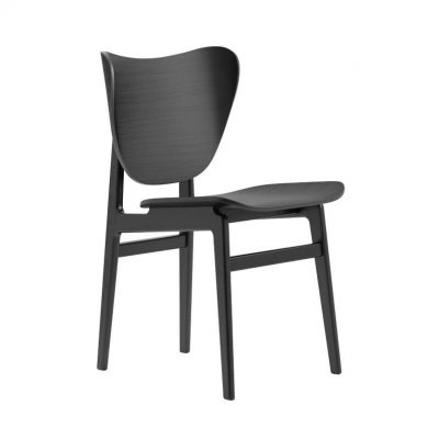 NORR11 - ELEPHANT Dining Chair - Eiken eetkamerstoel met houten zitting - ZWART