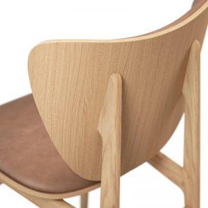 NORR11 - ELEPHANT Dining Chair - Naturel Eiken eetkamerstoel met Camel vintage leer