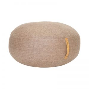 HUBSCH INTERIOR - Bruine poef van wol met visgraat motief - 700803