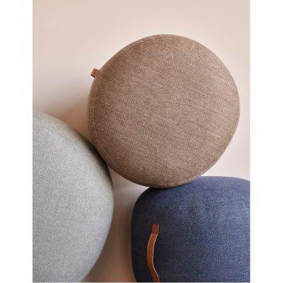 HUBSCH INTERIOR - Bruine poef van wol met visgraat motief - 700804